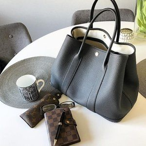 My Bag Lady Online Bags - Garden Party Leather Tote w/ Herringbone Lining